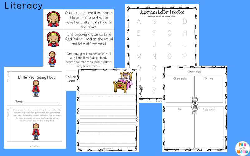 photo relating to Little Red Riding Hood Story Printable identify Tiny Crimson Driving Hood Printables and Routines Pack - Enjoyment