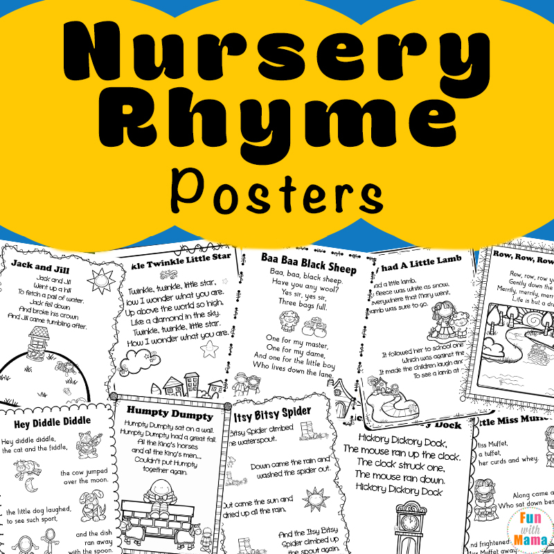 graphic relating to Printable Nursery Rhymes identify Nursery Rhymes Printables Posters - Exciting with Mama