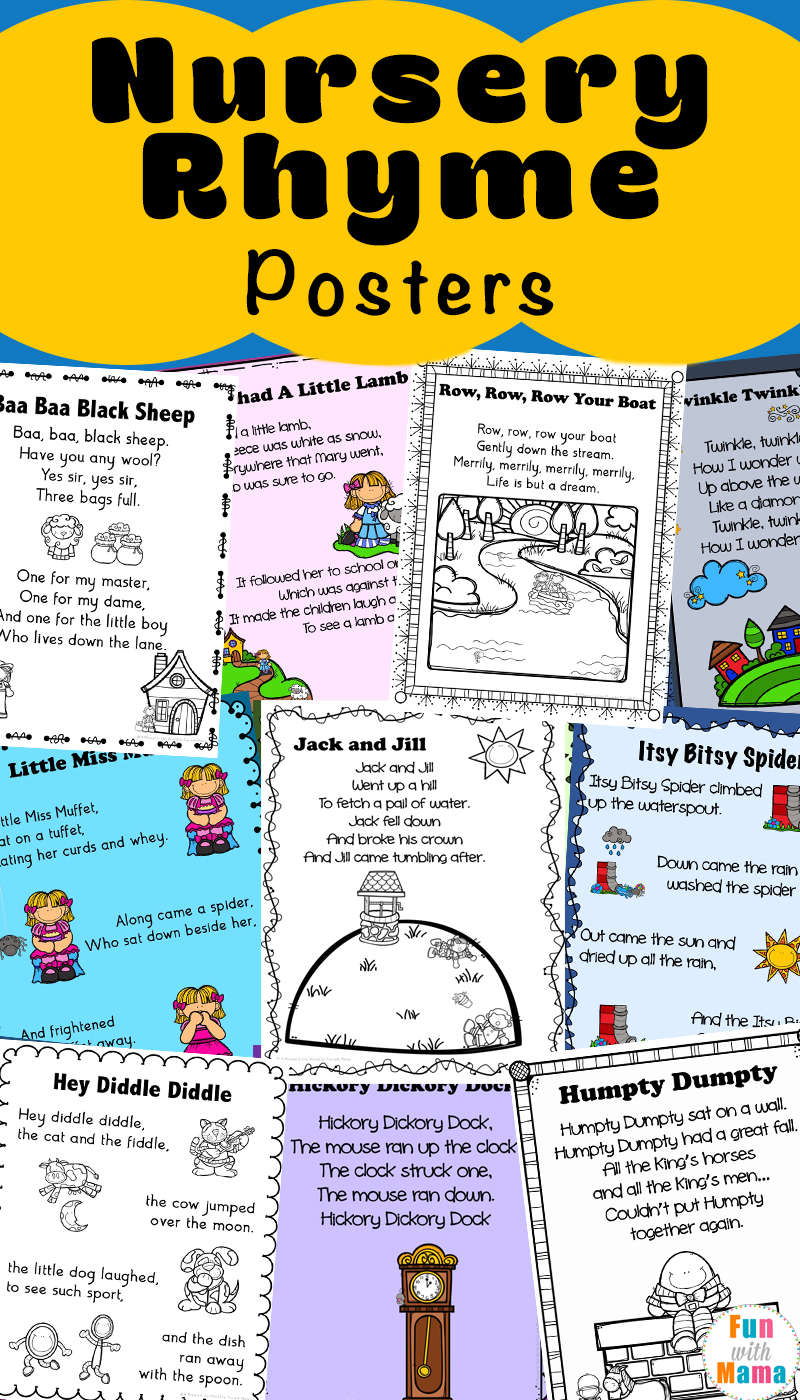 Nursery Rhyme Coloring Pages Pdf : Nursery rhymes printables posters fun with mama