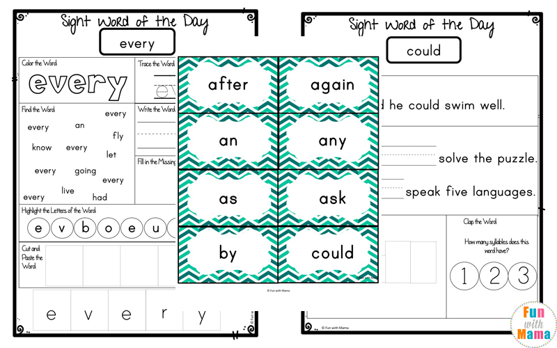 Free Dolch First Grade Sight Words Worksheets Fun with Mama – Sight Word Worksheets First Grade