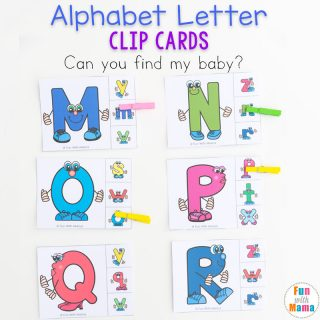 Uppercase and Lowercase Letter Matching Clip Cards