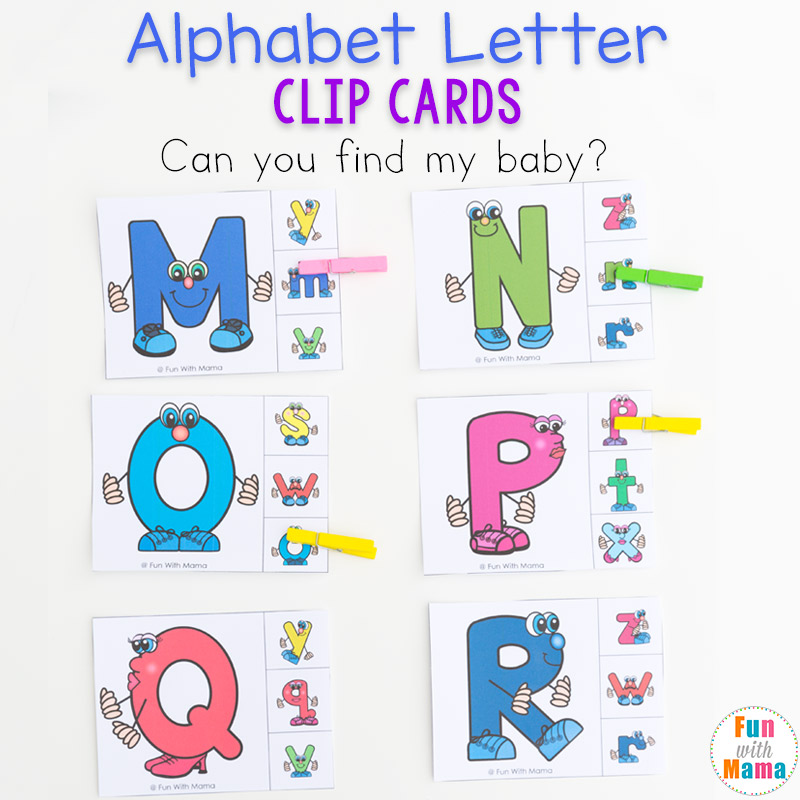 Alphabet Matching Clip Cards. Fun upper and lowercase ABC matching game for kids.