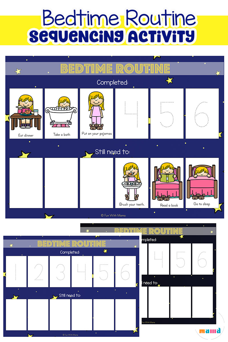 graphic about Children's Routine Charts Free Printable titled Child Bedtime Agenda Chart Sequencing Match - Pleasurable with