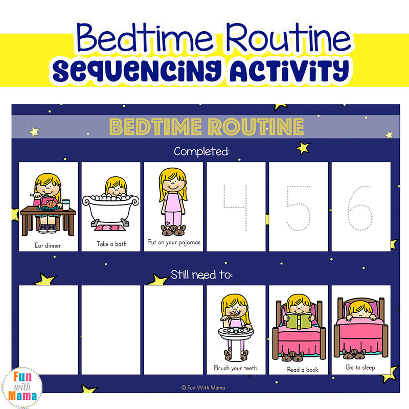 Toddler Bedtime Routine Chart Sequencing Activity Fun