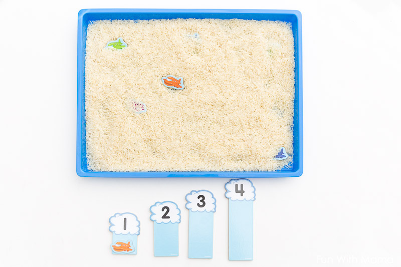 teaching numbers with sensory bin
