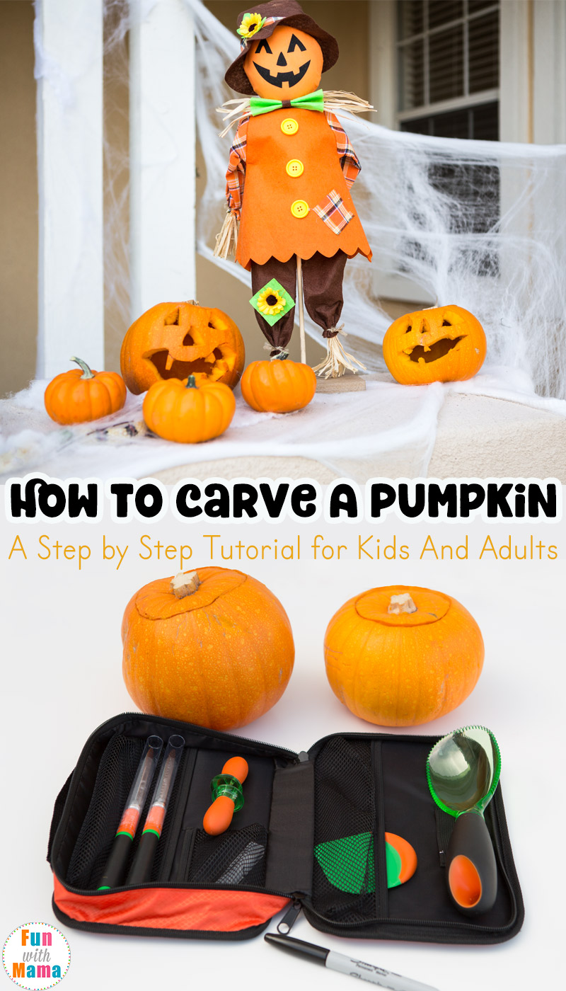how to carve a pumpkin with kids step by step fun with mama. Black Bedroom Furniture Sets. Home Design Ideas