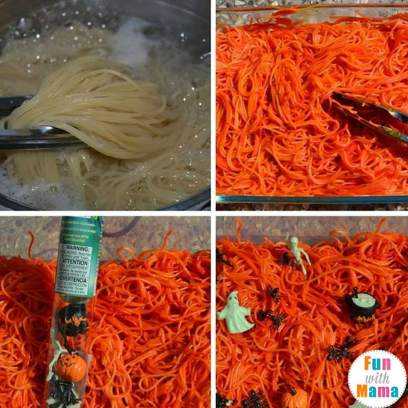 how to color spaghetti for sensory table
