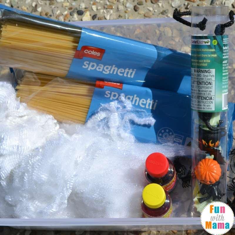 Halloween spaghetti spider sensory bin supplies 1