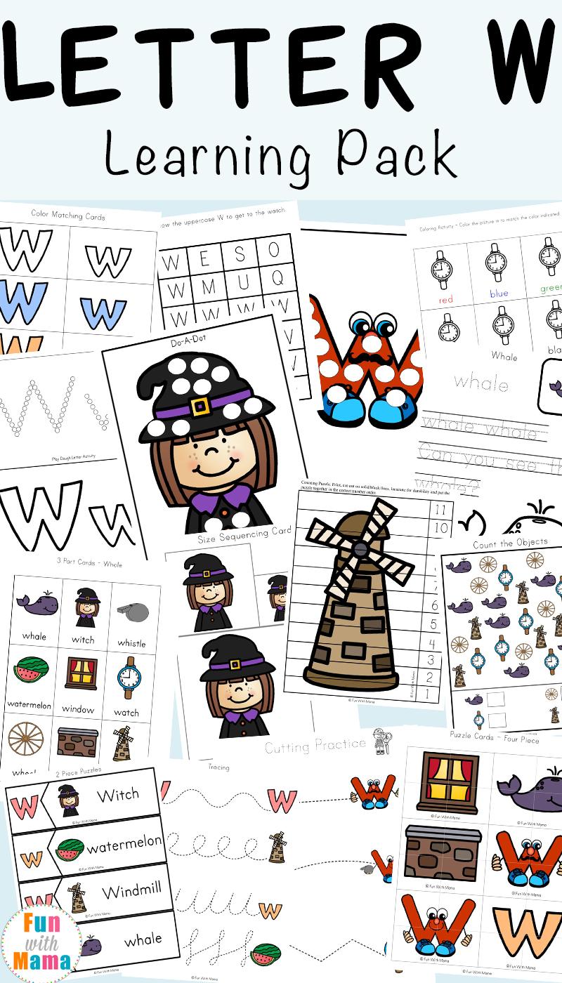 image regarding Letter W Printable titled Letter W Worksheets For Preschool + Kindergarten - Enjoyable with Mama