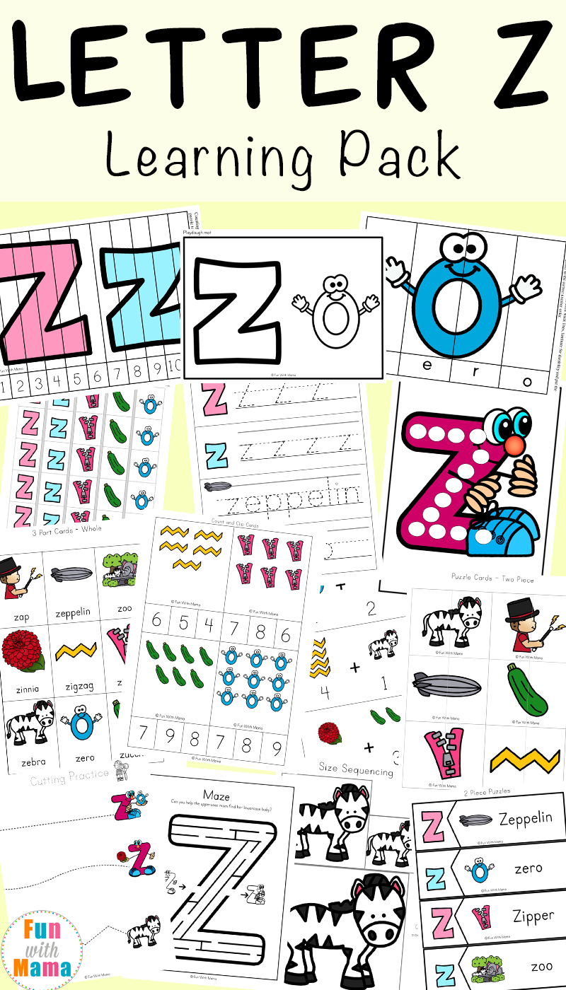 Letter Z Worksheets For Preschool + Kindergarten - Fun with Mama