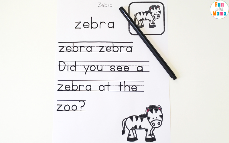 letter z sound phonics worksheets
