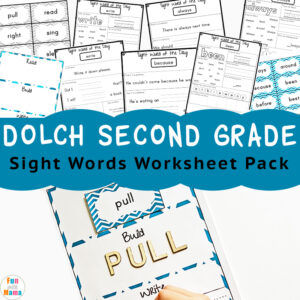 Dolch sight words second grade list with flashcards