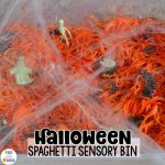 Halloween Sensory Bin With Spaghetti