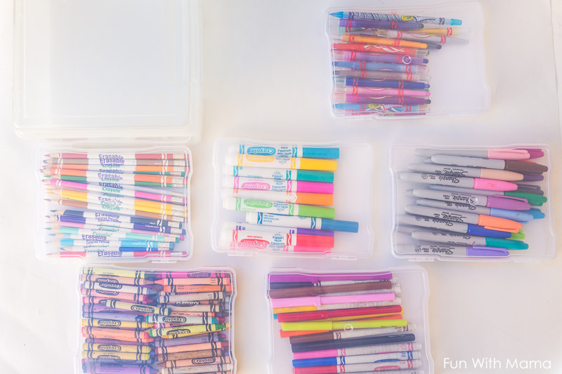 how to organize crayon and markers