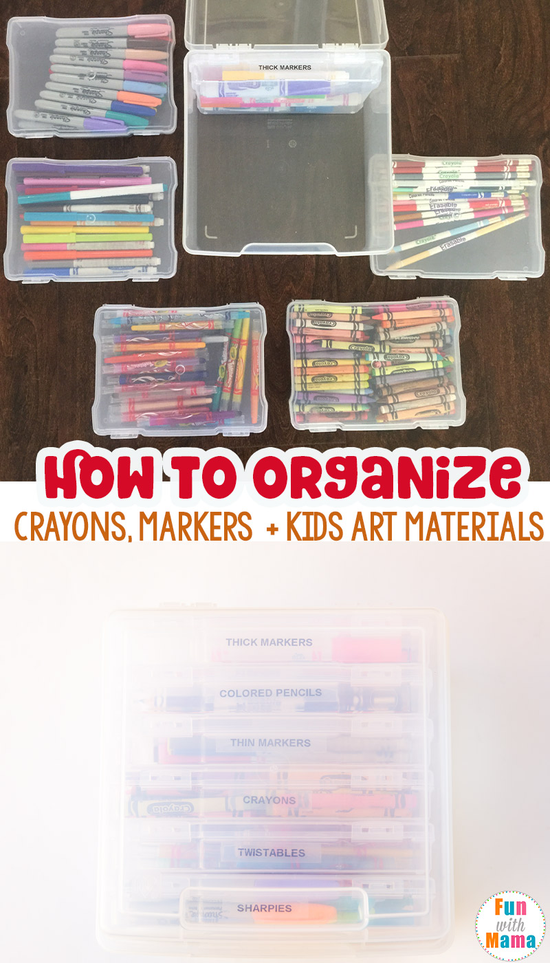 how to organize kids art supplies markers and crayons fun with mama. Black Bedroom Furniture Sets. Home Design Ideas