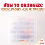 Art supply storage for toddler art supplies