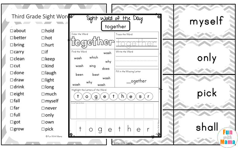 graphic about Color by Sight Word Printable named Cost-free Dolch 3rd Quality Sight Words and phrases Worksheets - Enjoyable with Mama
