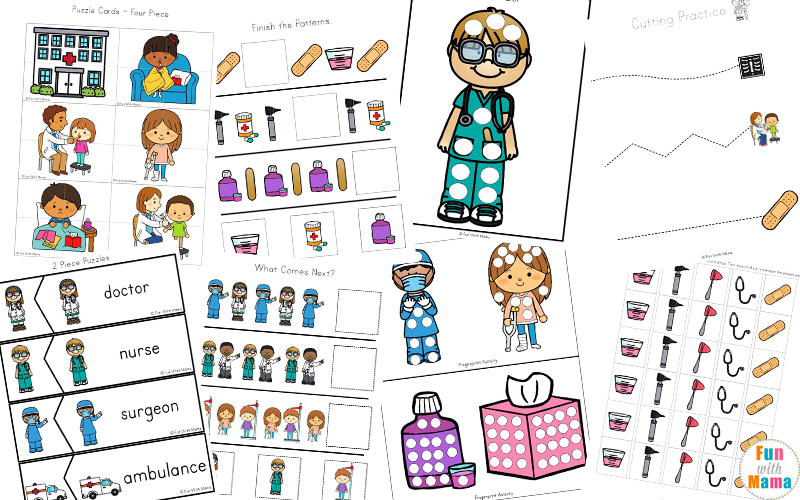 photograph relating to Printable Nurses Week Games known as Area Helpers Little ones Health practitioner Package and Medical professional Video games For Young children