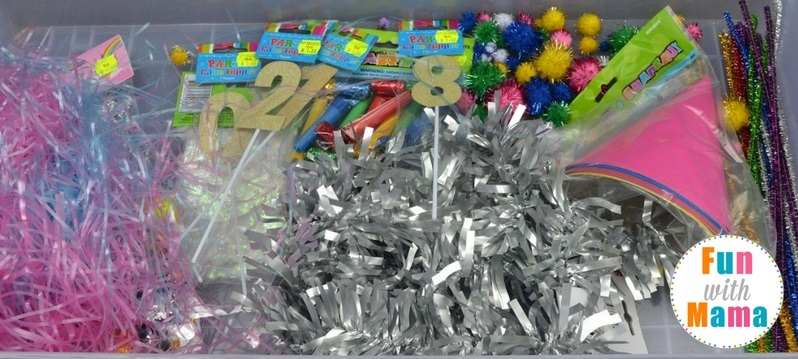 New Year's Eve sensory bin supplies final