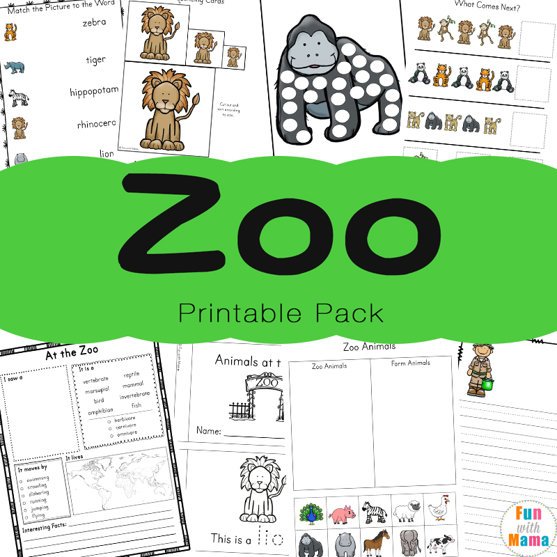 Zoo Animal Activities For Preschoolers + Kindergarteners ...