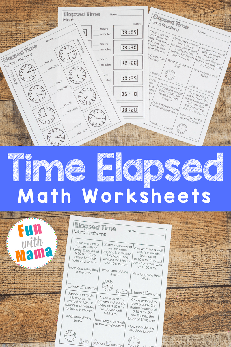 Elapsed time worksheet pages