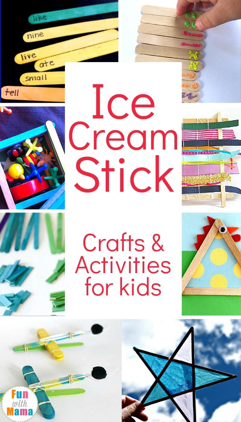 So many fun Ice Cream Stick Craft Ideas and Ice Cream Stick Activity Ideas For Kids