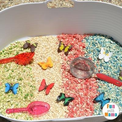 rainbows and butterflies sensory bin 2
