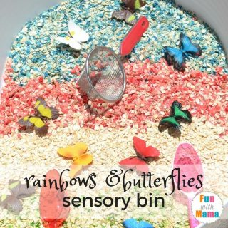 rainbows and butterflies sensory bin feature