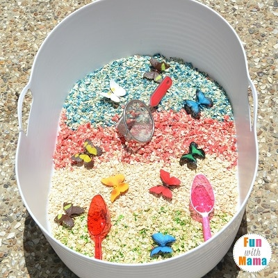 rainbows and butterflies sensory bin full