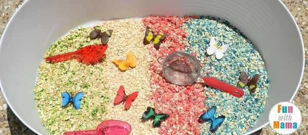 rainbows and butterflies sensory bin long