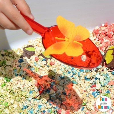 rainbows and butterflies sensory bin scoop 2