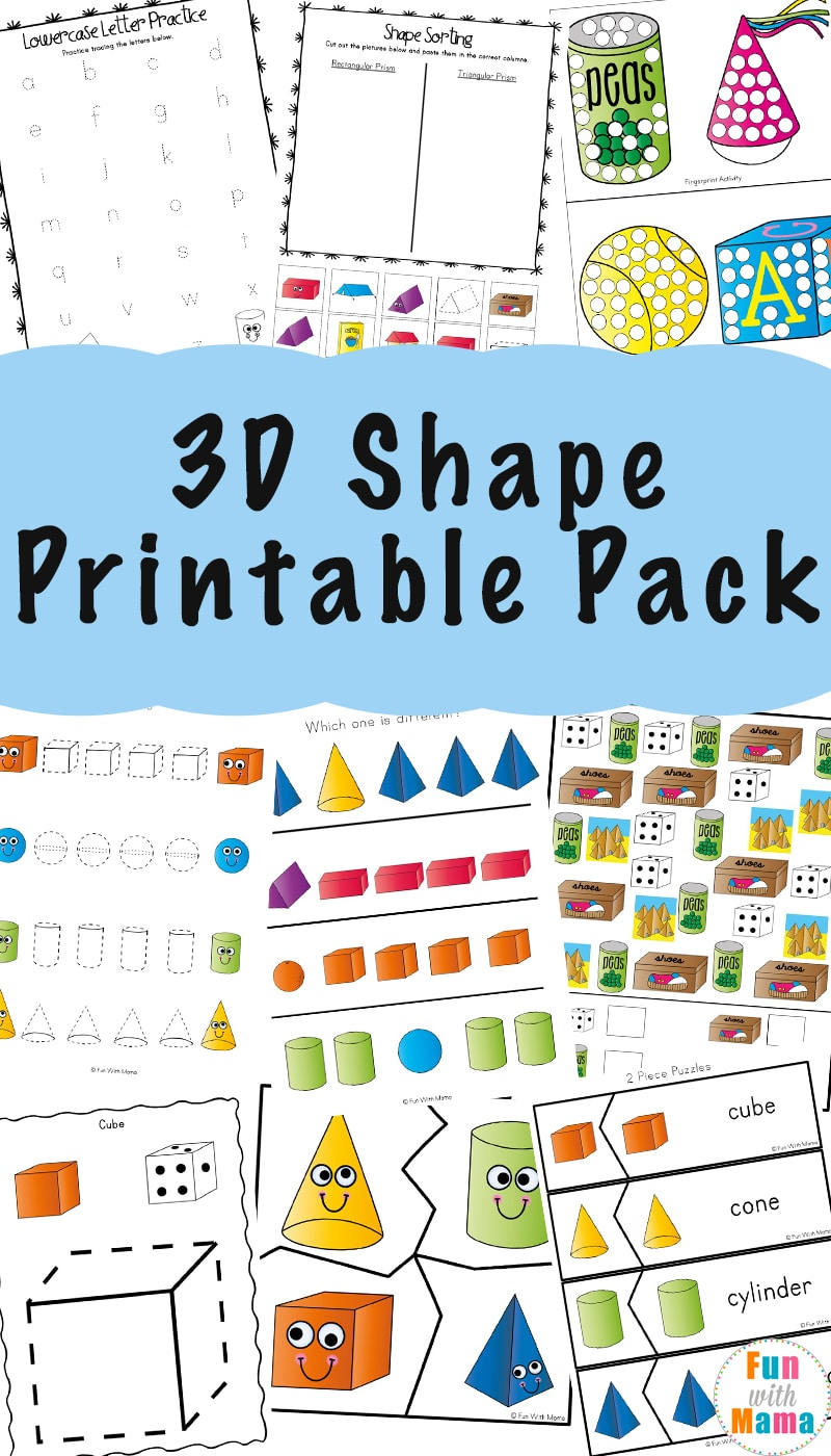 photo regarding Printable Shape Worksheets known as 3D Form Worksheets - Enjoyment with Mama