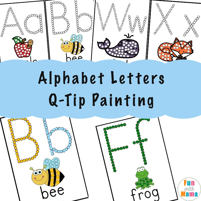 image regarding Q Tip Painting Printable identified as Alphabet Printables Q-Idea Portray - Entertaining with Mama
