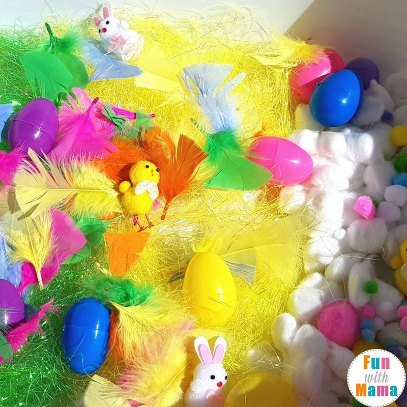 Easter sensory bin setting up 2