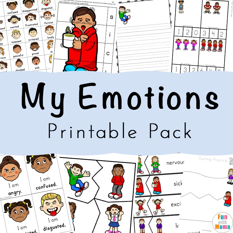 photo about Free Printable Emotion Faces named Emotions Routines + Feelings Worksheets For Small children - Enjoyable