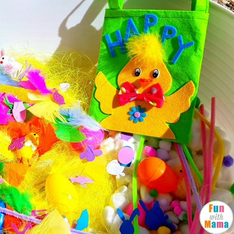 easter sensory bin setting up with the bag