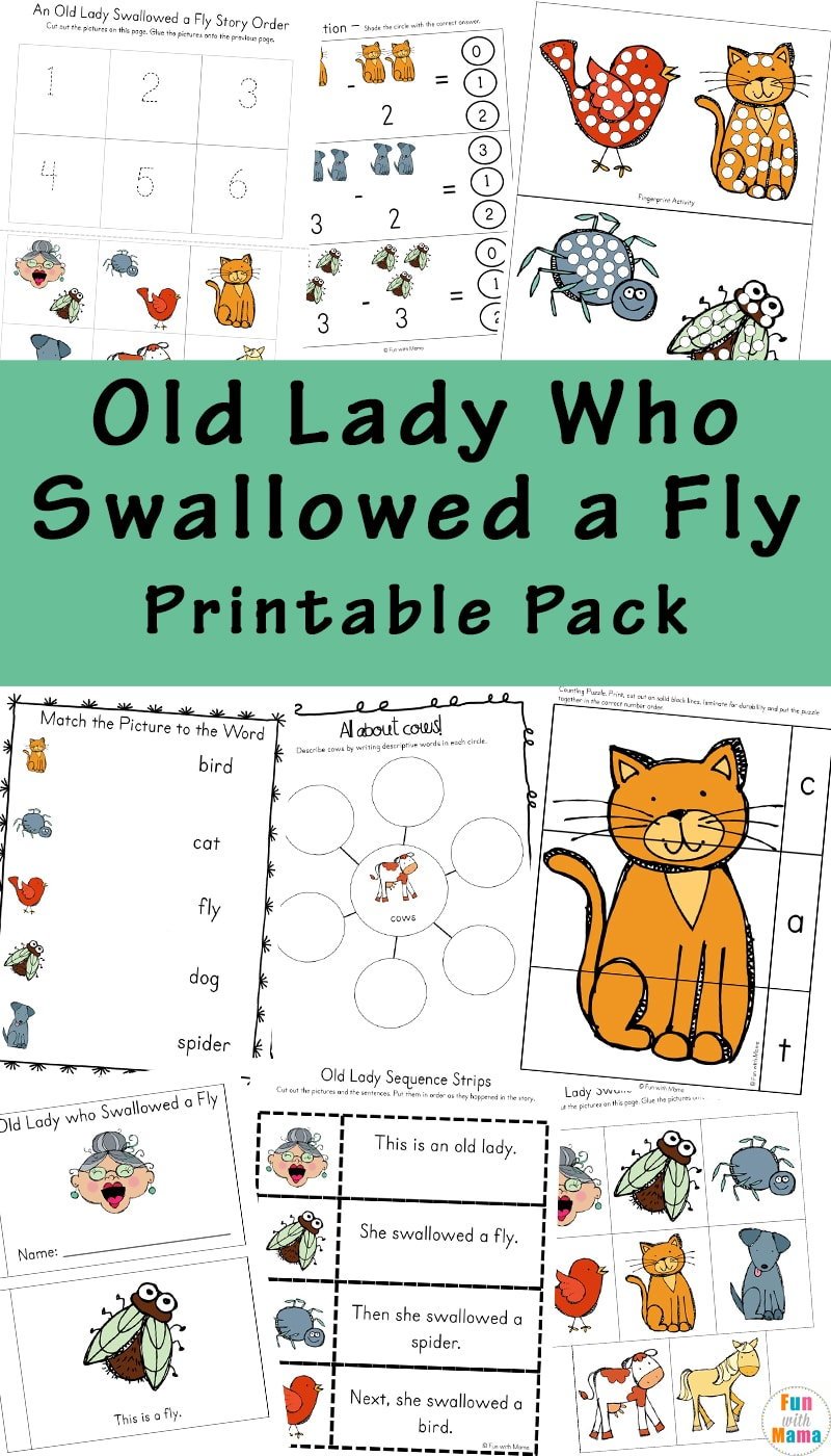 If your kids love the book series There Was An Old Woman Who Swallowed A Fly, they will love this themed printable learning pack!