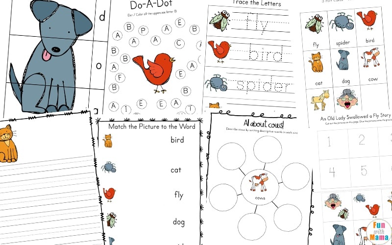 old lady who swallowed a fly printables