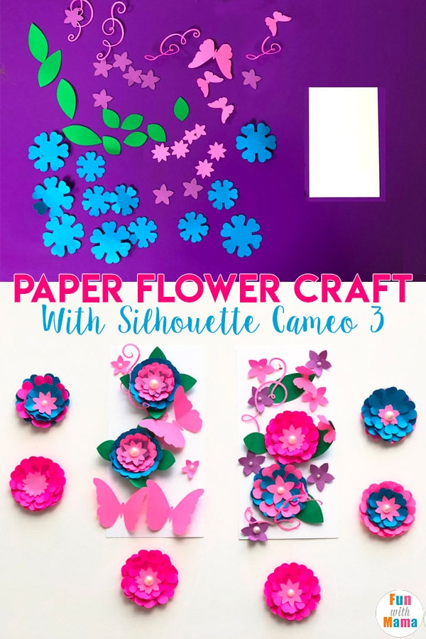 Paper flower craft for kids with silhouette cameo 3
