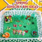Spring Theme Sensory Bins + Table Ideas
