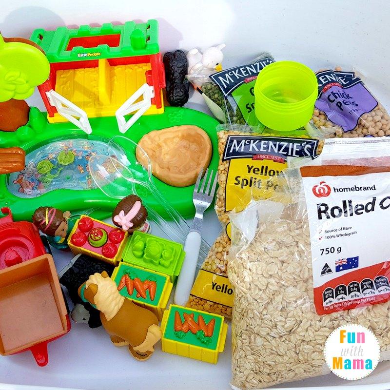 farm sensory bin supplies - what you need