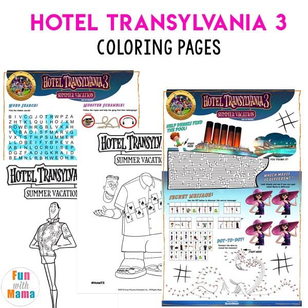 Hotel Transylvania 3 Summer Vacation Coloring Pages Fun