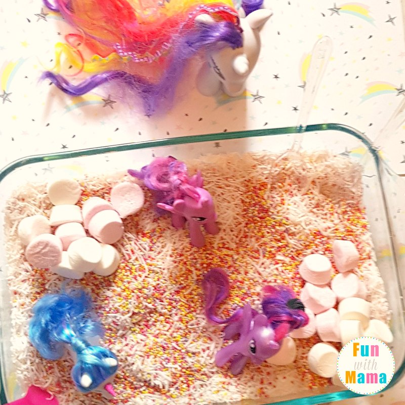 unicorn sensory bin setting it up 3