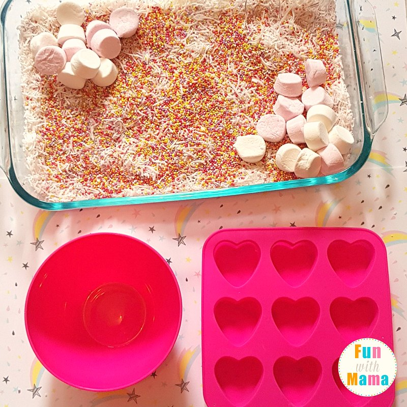unicorn sensory bin setting up 2