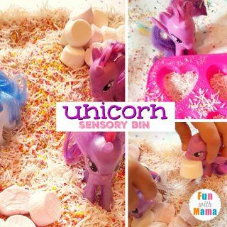 unicorn sensory bin square