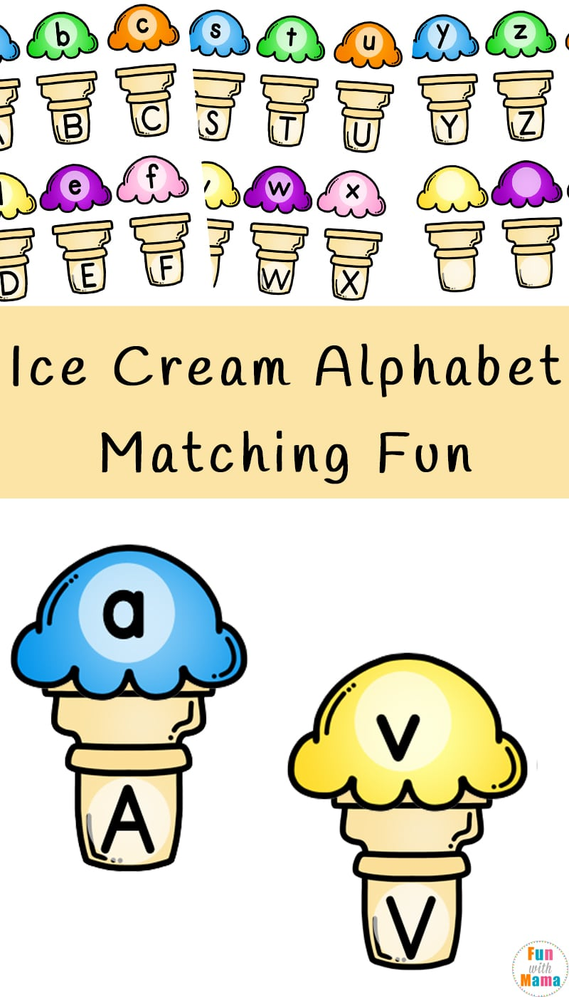 photograph about Alphabet Matching Game Printable identify Ice Product Alphabet Matching Exciting - Entertaining with Mama