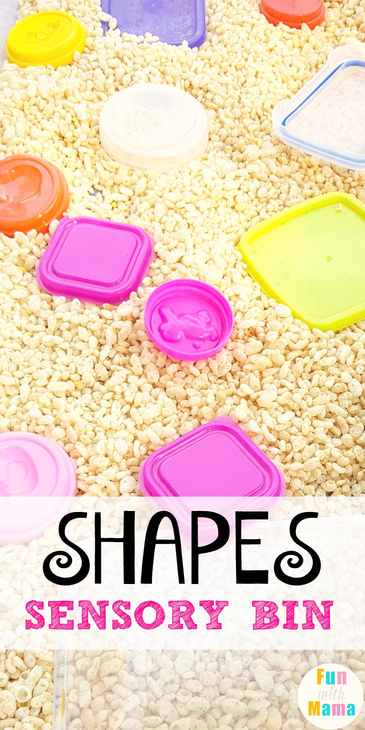 EASY SHAPES SENSORY BIN and shapes sensory table ideas using cereal rice krispies.