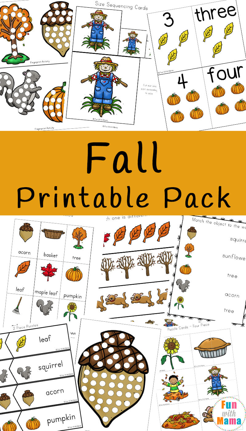 picture about Fall Printable Activities named Tumble Concept Things to do For Youngsters - Pleasurable with Mama