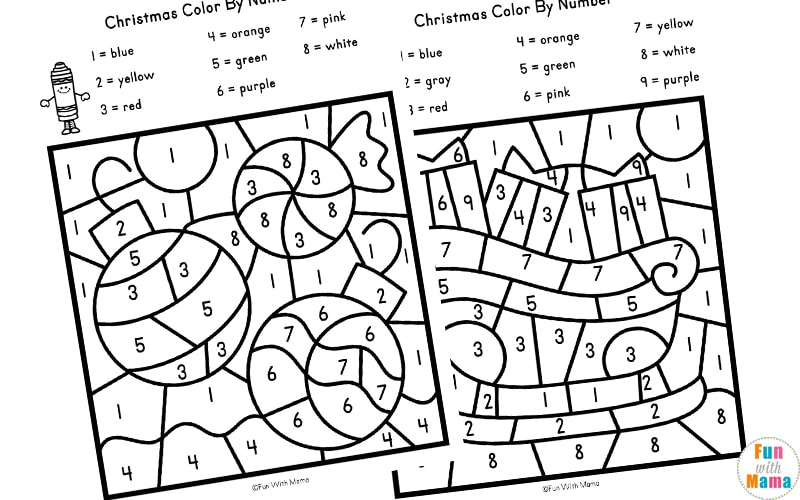 Christmas Color By Number Worksheets - Fun with Mama