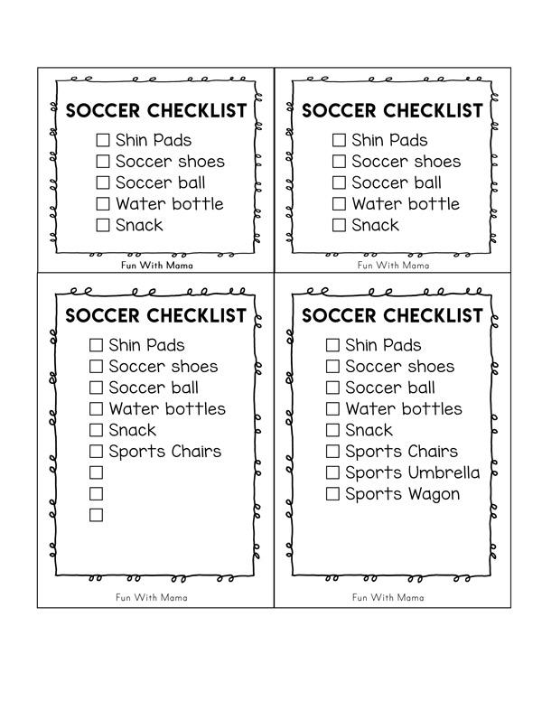 soccer check list